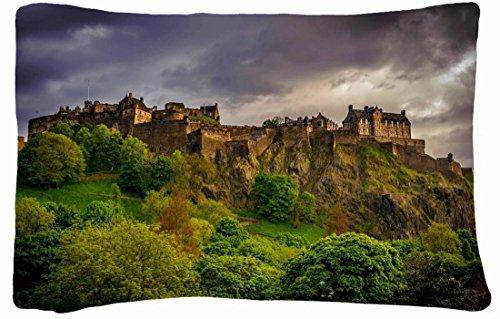 Microfiber Peach Queen Size Decorative Pillowcase -Cities Travel Edinburgh Castle front-853874