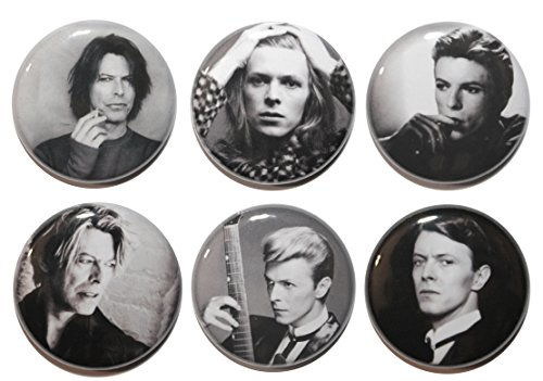 Set 6 di David Bowie Nero & bianco, BUTTON Badges, MADE IN UK, motivo a bottone, ZOMBIE