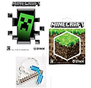 Official Minecraft Diamond Pickaxe Keychain Sticker Set Of 5 by MOJANG