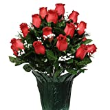 Red Rose Bud with Babys Breath Weighted Potted Silk Arrangement by Sympathy Silks® (PT1527) Sale