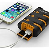 FosPower POWERACTIVE 10200mAh (WATER/SHOCK/DUST PROOF) Rugged Heavy Duty Power Bank - 2.1A USB Output with LED, Compass Carabiner - Portable Battery Charger Compatible with Apple iPhone/iPad, Android Smartphones, Tablets, Bluetooth Headset & MP3