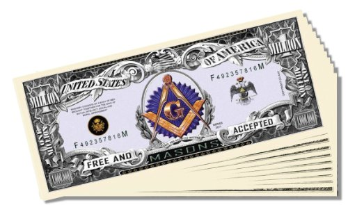 Freemason Masonic Novelty Million Dollar Bill - 10 Count with Bonus Clear Protector & Christopher Columbus Bill