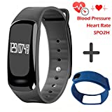 Blood Pressure Bracelet Fitness Tracker - Homestec S4 Smart Watch with SPO2H Heart rate monitor Sleeping Management Pedometer with OLED Touch Screen for Android iOS (Black-Blue)