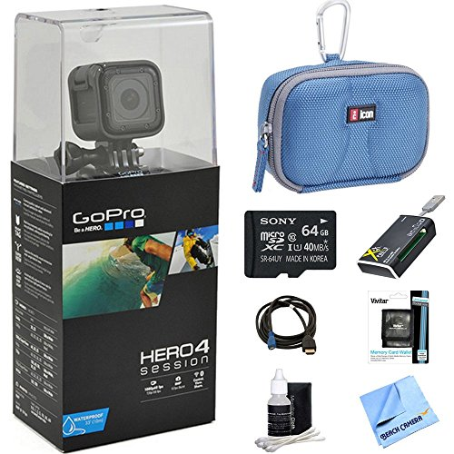 Beach Camera discount duty free GoPro HERO4 Action Camera Ready for Adventure Bundle Includes GoPro Hero 4, 64GB Micro SDXC Memory Card, Case, Card Reader, Memory Card Wallet, HDMI, Lens Cleaning Kit and Beach Camera Cloth