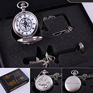 Full Metal Alchemist 6 Different Style Fullmetal Alchemist Anime Pocket Watch & Necklace & Ring (A_Style)