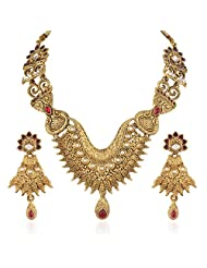 Variation Antique Red Gold Plated Kundan Necklace Set For Women