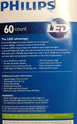 Philips RED LED Mini Christmas Lights 60 Count