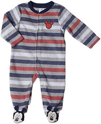 Disney Baby Baby-Boys Mickey Mouse Microfleece Sleep And Play, Grey Heather, 3/6 Months front-239144