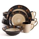 Mosaic Bronze 16pc Dinnerware Set-Brown Reactive Stoneware