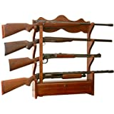 Allen company four gun wooden gun rack sports American classic furniture company