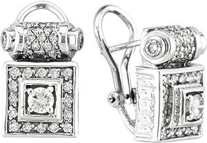Antique Style Diamond Earrings, 18K White Gold