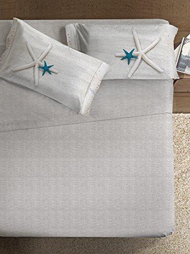 Ipersan Stella Fine-Art Completo Fotografico, Cotone, Beige/Turchese/Bianco, Matrimoniale