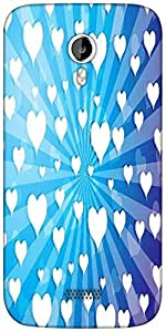 Snoogg flying hearts on blue background Designer Protective Back Case Cover For Micromax A116