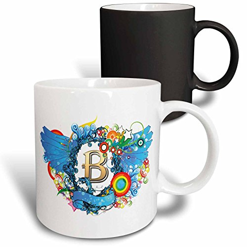 Anne Marie Baugh - Monograms - Blue Wings With A Gold Letter B Monogrammed Center - 11oz Magic Transforming Mug (mug_236112_3) (Monogram Beverage Center compare prices)