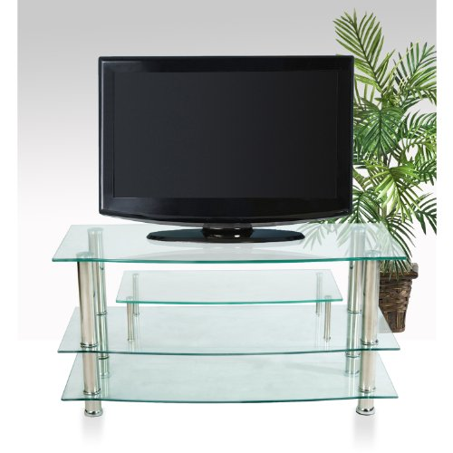 Home Source Industries TV4281 Modern TV Stand with Shelving for Components, Clear Glass