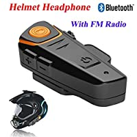 Bluetooth Fm Wireless Intercom Headset, Hosamtel Hot Automatic Answer FM Waterproof Music Motorcycle Bluetooth BT-S2 Headset 3.0 1000 m Intercom Connect MP3 GPS Walkie-Talkie Motorcycle Helmet