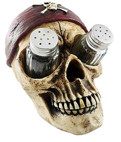 Caribbean Pirate Skull Bandana Cross Bones Salt Pepper Shaker Holder Figurine (Pirate Containers compare prices)