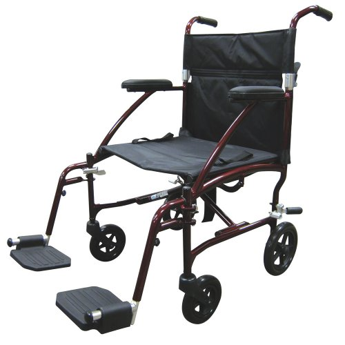 Drive Medical Fly Lite Ultra Lightweight Transport Wheelchair, Burgundy Frame, 19
