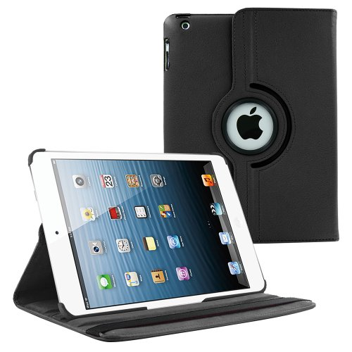 iPad Case by KIQ (TM) 360 Degree Rotating Synthetic Leather Case Cover for Apple iPad 2/3/4 - Black (Ipad Mini Standing Case compare prices)