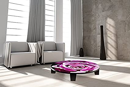 "TAF DECOR ""Mulberry Musings"" Art Coffee Table, 35"" X 35"" X 7.5"", Multicolored"