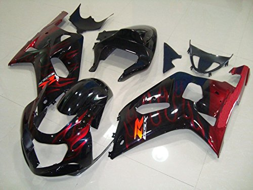 Black w/ Red Flame Complete Injection Fairing for 2001-2003 Suzuki GSXR 600 750 (2001 Gsxr 750 Parts compare prices)