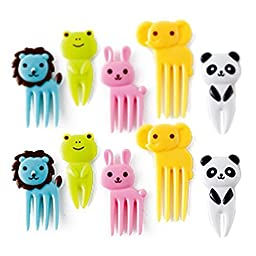 CUTEZCUTE 10-Piece Bento Decoration Box, Animals Food Picks and Forks by Cute Z Cute