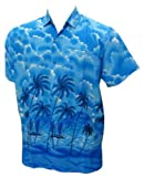 La Leela Mens Palm Tree Printed Hawaiian Shirt L