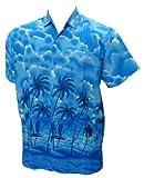 La Leela Mens Palm Tree Printed Hawaiian Shirt L