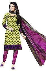 Shivani Women's Cotton Dress Material (Yellow)