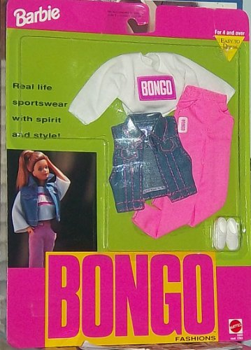 Barbie Bongo Fashions - Bongo Logo Shirt, Pants, Jean Jacket Vest, and Sneakers(1992) - 1