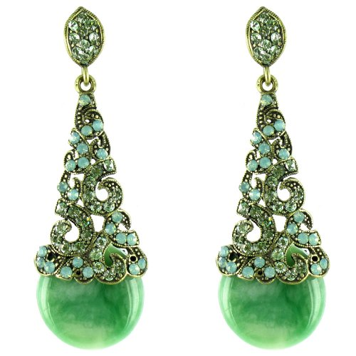 Green On Antique Gold Baroque Sweetheart Marble Earrings front-814923