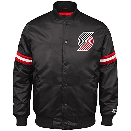NBA Portland Trail Blazers Men's Retro Satin Full Snap Jacket, Medium, Black