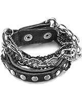 Men's Alloy Genuine Leather Bracelet Bangle Cuff Black Silver Ball Curb Chain Punk Rock Biker Adjustable
