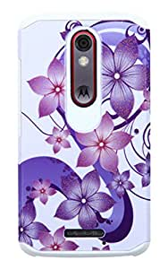 Asmyna Cell Phone Case for MOTOROLA XT1585 (Droid Turbo 2) - Retail Packaging - Purple/White
