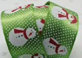 Christmas Ribbon GREEN WITH SNOWMEN ~ 5 yards (4.5 metres) of 22mm Wide Ribbon Ideal For Presents~Gifts~Cards~Scrap Booking~Decoration