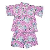 甚平ベビー女の子朝顔と紫陽花柄プリント綿100%和柄しじら織り甚平スーツ(じんべい)ピンク80cm