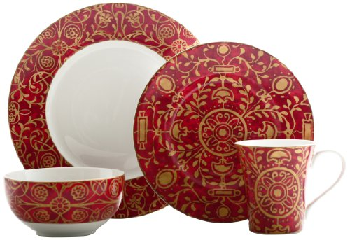 222 Fifth Pilar 16-Piece Dinnerware Set, Red
