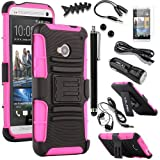 Pandamimi ULAK(TM) Belt Clip Holster Hard Case Kick-Stand For HTC One M7 with 9 Accessories - Screen Protector/Cleaning cloth/Application/Headphone/USB Cable/Car Charger/Touch Stylus/Earphone splitter cable (1 in 2 out)/Fishbone Shape Earphone Cord Winder Newest 11 in 1) (Black + Rose Pink)