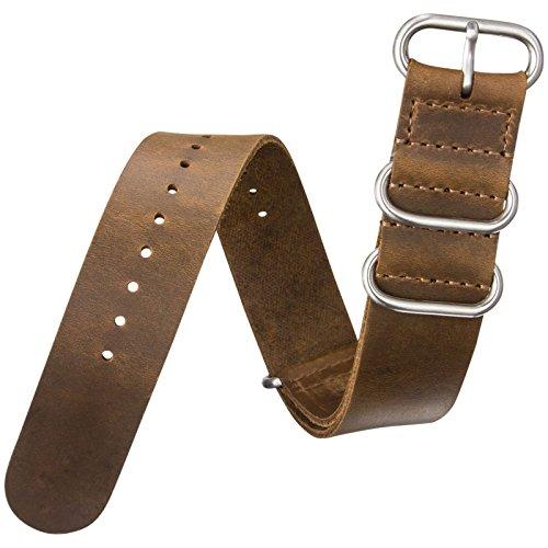 Cinturino orologio ZULUDIVER® Vera pelle Militare ZULU Marrone 22mm