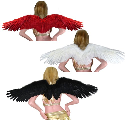 SACAS Large Feather Halloween Angel Wings 3 colors Black, White , Red