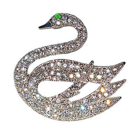 White Classical Swan Pin Swarovski Crystals Brooch Vintage style Black Bird J...