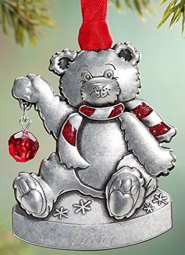Miles Kimball Personalized Pewter July Birthstone Bear Ornament