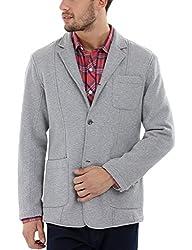 Zobello Mens 3 Button Fleece Blazer(51123A_Concrete Grey_X-Small)