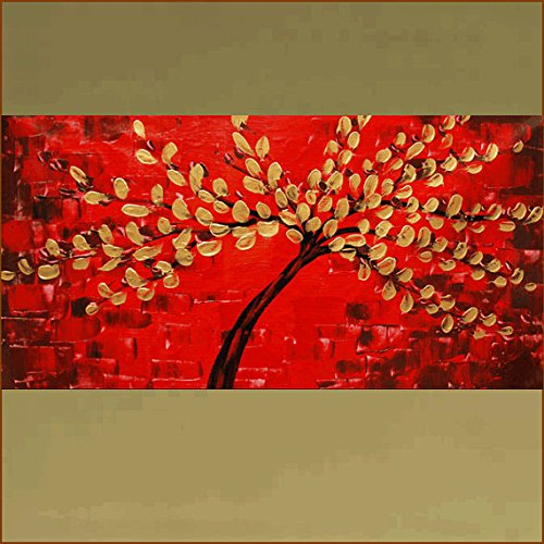 Xm Art-Festive Red Lucky Tree Palette Knife Landscape Oil Painting On Canvas Wall Art Deco Home Decoration(Unstretch And No Frame)