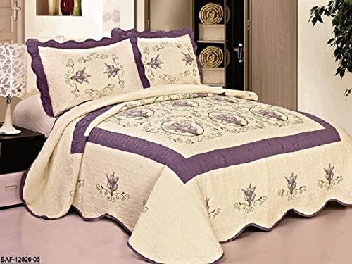 3pcs High Quality Fully Quilted Embroidery Quilts Bedspread Bed Coverlets Cover Set , Queen King (Beige/Purple) (Quilt Queen Purple compare prices)