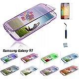 J.E Direct Protective - Funda para Kit d'accessoires pour Samsung Galaxy S3 i9300 i9305 / S III GT-i9300 Coque Housse Etui Portefeuille en Silicone Gel de couleurs Transparente, Rose et Violet + 1 films protection d'écran + 1 Mini Stylet tactile (pourpre)