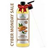 Sweet Almond Oil - Highest Quality Therapeutic Grade Carrier Oil - Perfect for Skin, Hair and Overall Health - 16 oz with Premium Pump from Essential Oil Labs