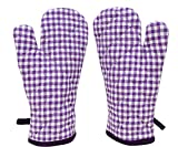 ELAN Cotton Microwave Oven Gloves 18 X 32 CM (purple Ghingham) (Set of 2)