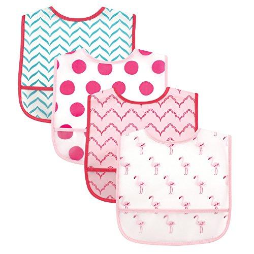 luvable-friends-4-piece-waterproof-bibs-with-crumb-catcher-flamingos