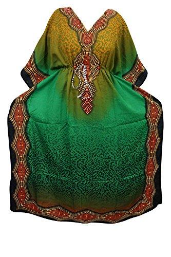 Indiatrendzs Women's Long Printed Boho Green Kaftan With Dori At Waist  available at amazon for Rs.387